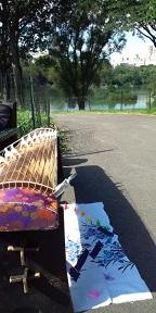 セントラルパークの筝と10羽の鶴