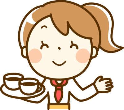 星乃珈琲のコーヒーを運んでいる女性スタッフの画像