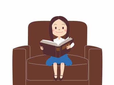 図書館で本を読んでいる画像