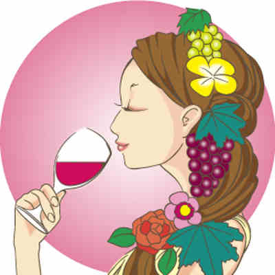 神谷伝兵衛のシャトーカミヤのワインを飲む女性の画像