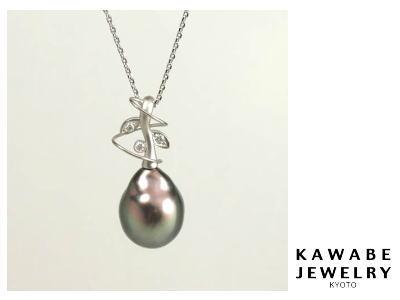 K18WG黒蝶真珠ペンダント(豆の木)