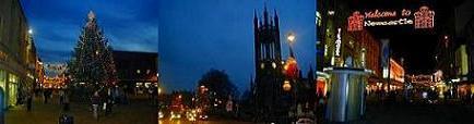 Newcastleの街のクリスマスの様子