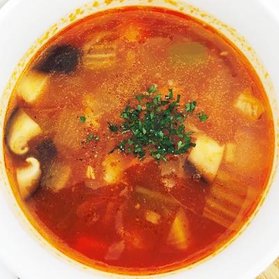 根菜とお豆の味噌ストローネ