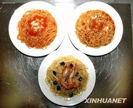 レストランのスパゲッティー各種