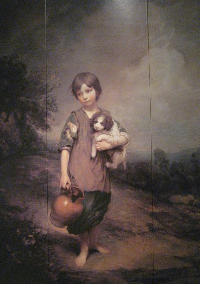 犬を抱き壺を下げる少女