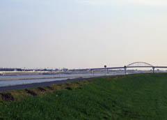 大野島から新田大橋を望む。