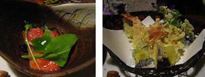 鮭のマリネと天ぷら