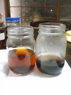 浸出液(左)と煎じ液(右)