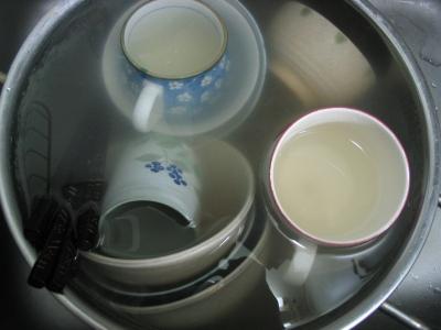 お茶碗浸け置き