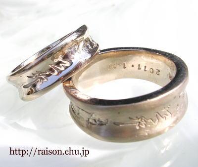 ナチュラルテイストの和風デザイン。こんな結婚指輪も良い。