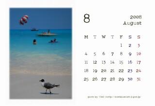 2008年8月のカレンダー