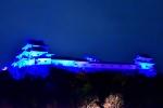 青い和歌山城