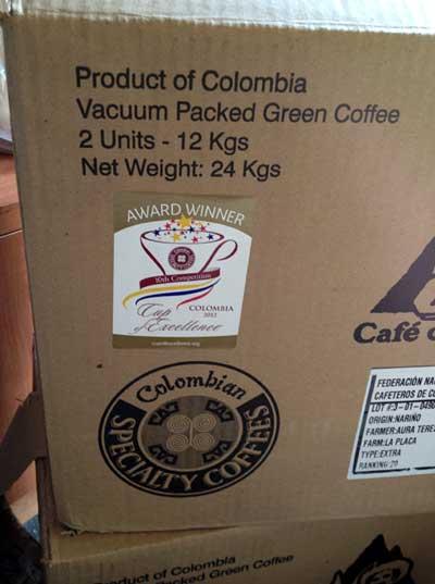 コーヒー生豆COEコロンビア