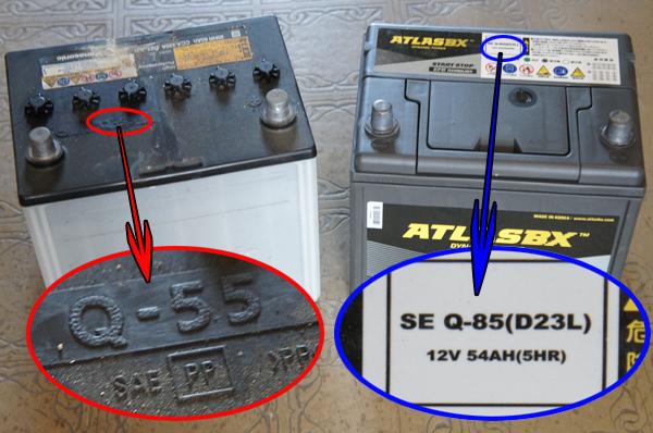 Q-55とQ-85の自動車バッテリー