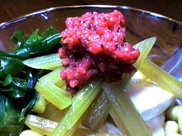 ふき、豆腐、ワカメの梅肉サラダ ^0^