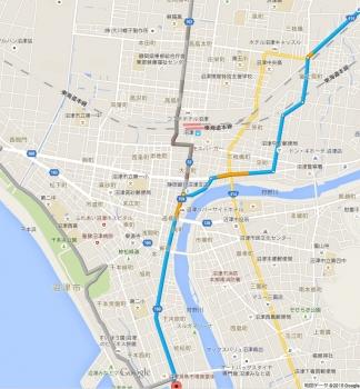 沼津港 地図ルート比較