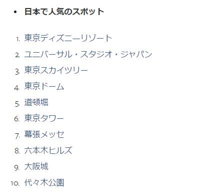 2015年日本で人気のあったスポット