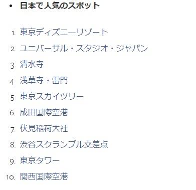 2016年日本で人気のあったスポット