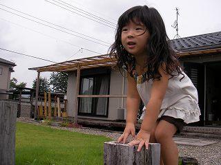 お庭で遊ぶ柚子