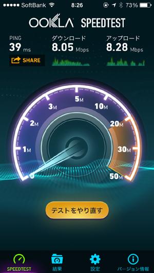 モバイルルーターPocket WiFi LTE(GL06P)朝の横浜駅ホームでスピード測定結果