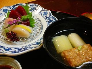 椀盛とお造り〜空豆の揚げだし風山葵風味 季節のおつくり