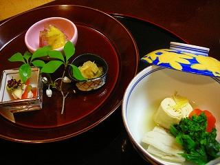 煮物と八寸〜アナゴと湯葉、菜の花の炊き合わせ 和え物三種盛