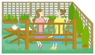 庭でお茶を