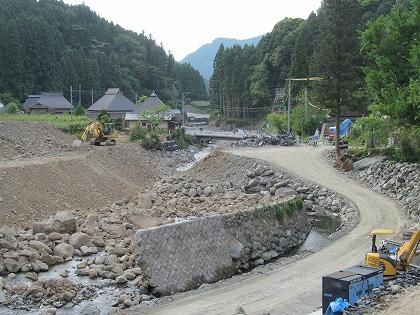 復旧工事中の注連原集落