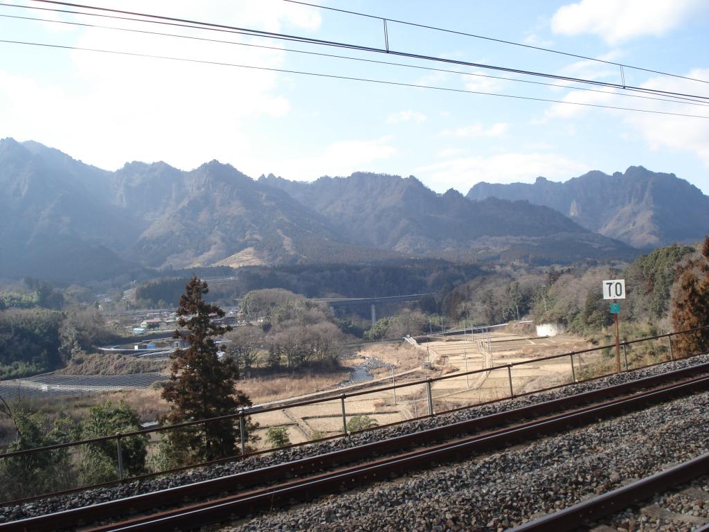 線路沿いの旧道と妙義山