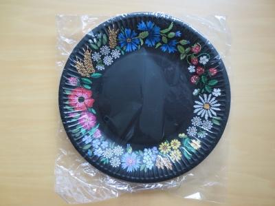 ペーパープレート 黒 エストニア 花柄 フラワー