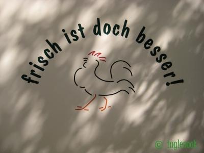 鶏のイラストドイツの鶏肉店のトラック