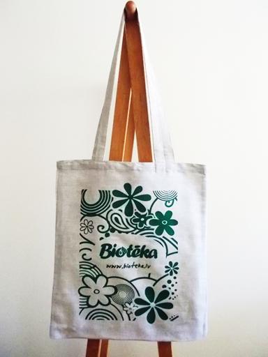 ラトビアのオーガニック・ショップ、Biotēkaのコットンリネントートバッグ