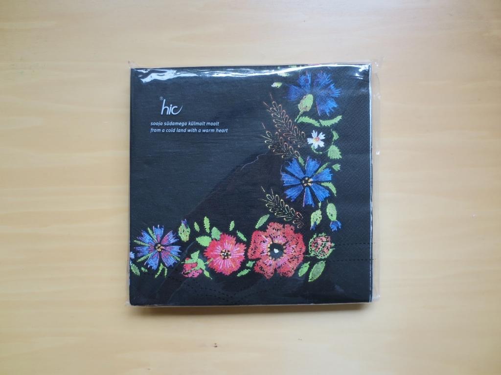 ペーパーナプキン 花 フラワー 黒 エストニア