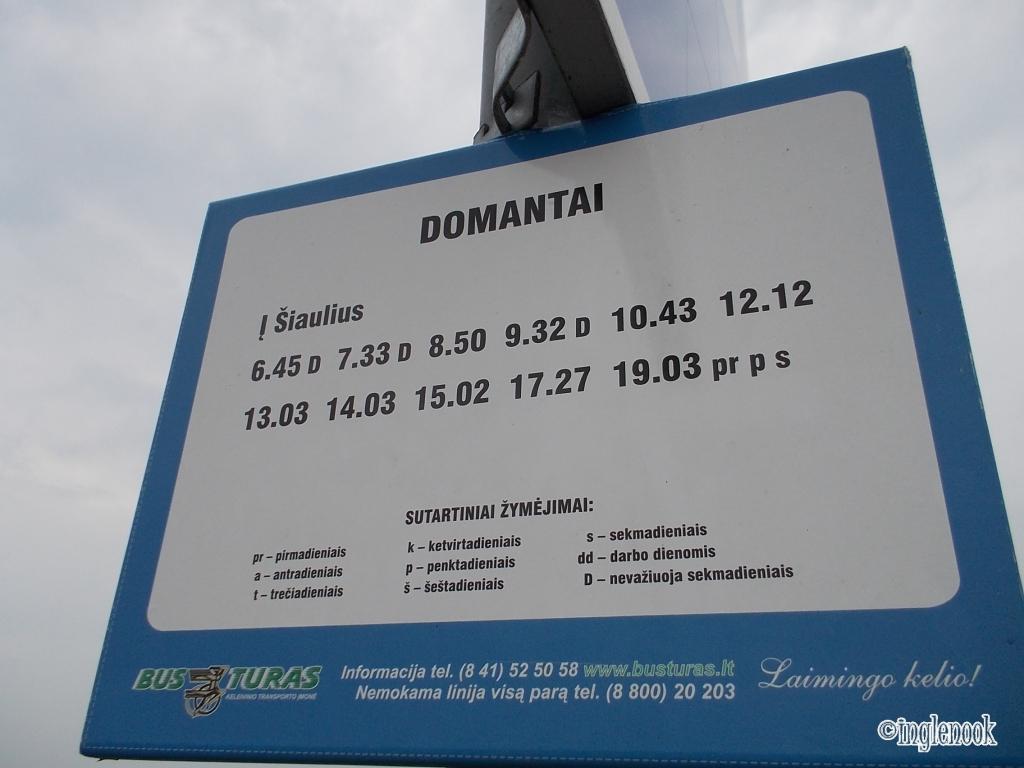ドマンタイのバス停の時刻表