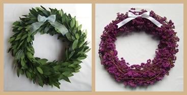 月桂樹と紫式部のリース