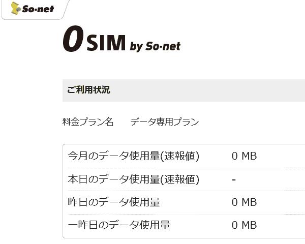 0sim使わない日は「−」表示になるようです