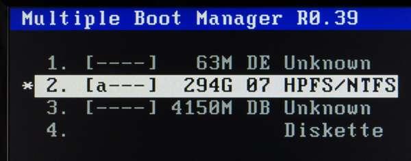 01 MBMをインストールしたHDDからの起動画面 この3-DB Unknown がリカバリーの正体です。1-DEは、パソコンのメモリテストなどを行うソフトが入ってます。