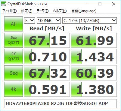 HDS721680PLA380 82.3G IDE変換SUGOI ADAPTER