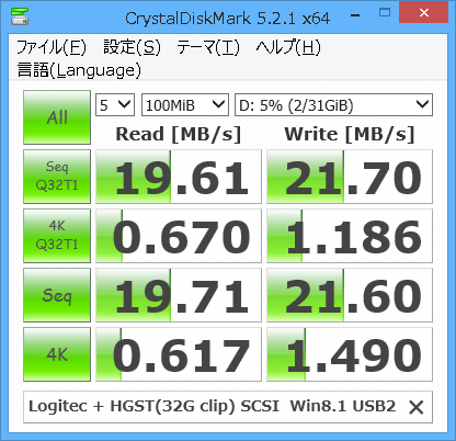 ロジテックケースに入れたHGST-IDE Win8.1 USB TEST