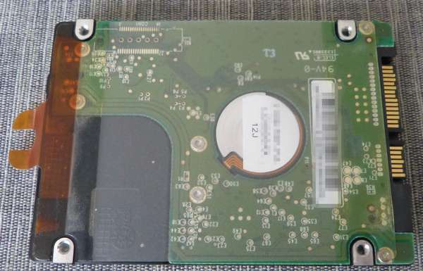 中古HDD裏面にはシールが貼り付けてありました