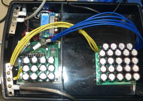 24V溶接機に16Vの増設コンデンサを追加 電圧は15Vに設定
