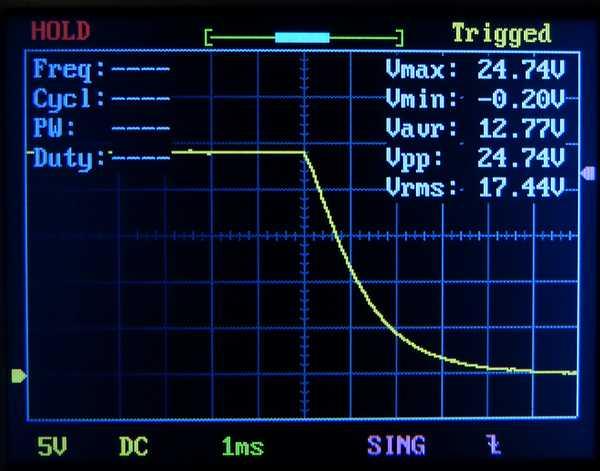 溶接機コンデンサ電圧降下曲線