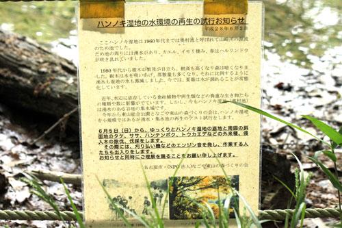 「ハンノキ湿地再生活動開始」を知らせる看板17年5月16日