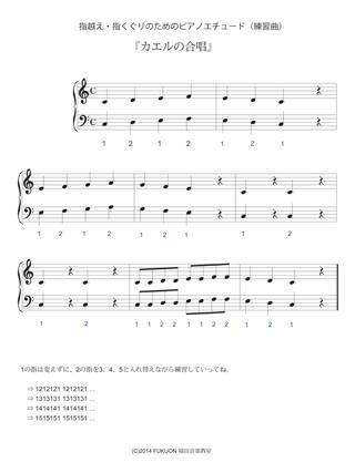 指越え・指くぐりのためのピアノエチュード楽譜