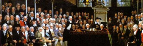 議会での議論の描いた絵画