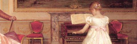 ピアノを練習する少女の絵画