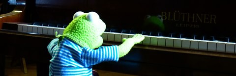 ピアノを弾くカエルのぬいぐるみの写真
