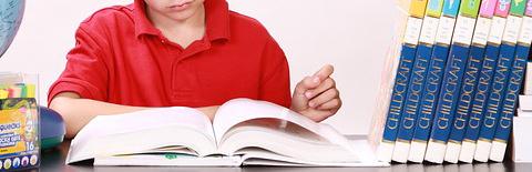 読書する少年の写真