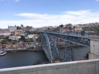 橋の上は強風。