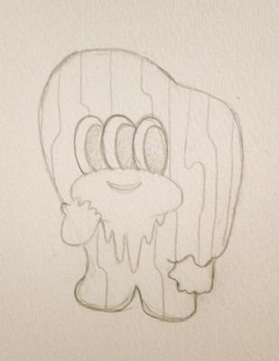 幻覚肉 サーチン Hallucination meat (Searchin)ポコパッチデザイン画の画像